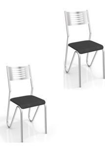 Kit 2 Cadeiras Para Cozinha Nápoles Com Assento Corano Preto - Kappesberg