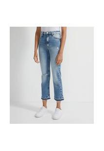 Calça Reta Jeans Com Barra Desfeita