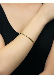 Pulseira De Ouro 18K Feminina Bracelete Meia Cana.
