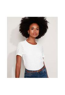 Camiseta De Laise Feminina Manga Curta Decote Redondo Off White