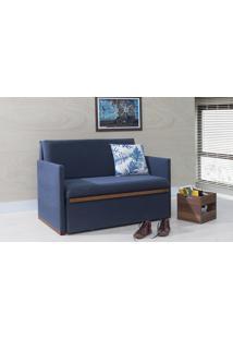 Bicama Para Casal Thin - Sofa Cama De Madeira Verniz Castanho Tecido Chumbo 125X90X85Cm