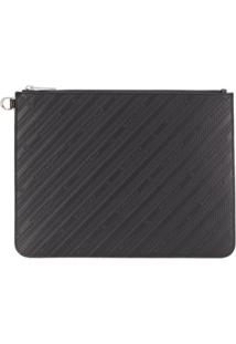 Givenchy Striped Logo-Embossed Clutch - Preto