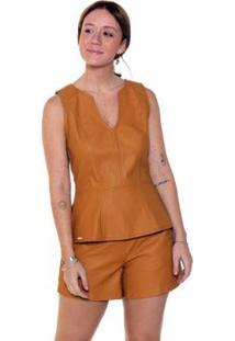 Regata Studio 21 Fashion Peplum Couro - Feminino-Mostarda