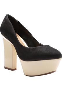 Sapato Meia Pata Metalizada - Preto & Douradoschutz