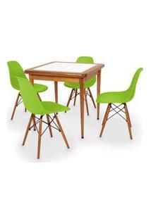 Conjunto Mesa De Jantar Em Madeira Imbuia Com Azulejo + 4 Cadeiras Eames Eiffel - Verde