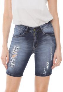 Bermuda Jeans Denuncia Reta Destroyed Azul
