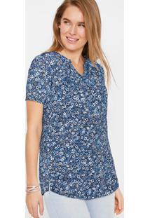 Blusa Decote V Estampada Floral Azul
