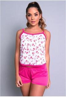 Pijama Mvb Modas Curto Blusinha Alça Short Liso Feminino - Feminino-Rosa