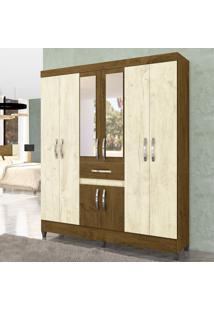 Guarda Roupa Casal Com Espelho 8 Portas Porto Moval Avelã Wood/ Castanho Wood