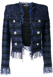 Balmain Fringed Tweed Jacket - Azul