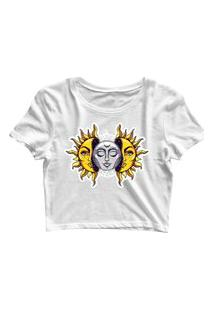 Blusa Blusinha Feminina Cropped Tshirt Camiseta Sol E Lua Branco