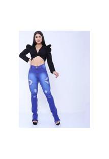 Calça Jeans Mania Do Jeans Skyni Cintura Alta Azul Clara Rasgado Flare
