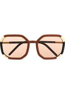 Prada Eyewear Óculos De Sol Redondo Decode - Marrom