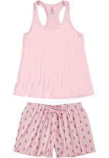 Pijama Rosa Nadador Abacaxis