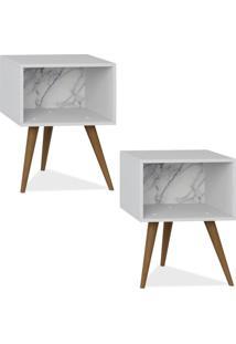 Kit 02 Criados Mudo Lyam Decor Retrô Branco Carrara