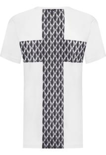 Camiseta Masculina Cruz Textura - Branco