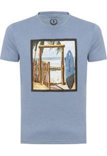 Camiseta Aleatory Estampada Beach Masculina - Masculino-Azul