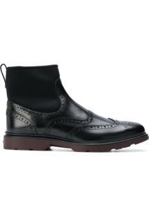 Hogan Ankle Boot De Couro - Preto