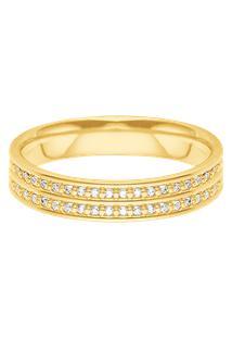 Aliança De Casamento Ouro Amarelo E Diamantes (4.7Mm)