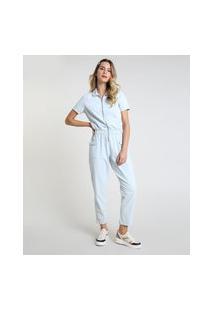 Macacão Jeans Feminino Com Zíper Manga Curta Azul Claro