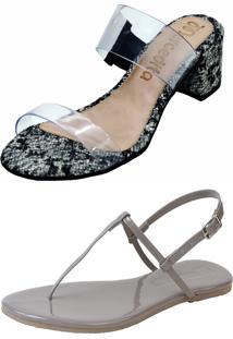 Kit Sandália Tamanco Salto E Rasteira Mercedita Shoes Cristal Com Cobra Chumbo E Verniz Chumbo - Kanui