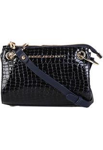 Bolsa Couro Jorge Bischoff Mini Bag Transversal Feminina - Feminino-Marinho
