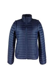 Jaqueta Feminina 2 Em 1 (Jaqueta E Colete) De Pluma Ultralight Alpine - Azul
