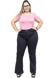 Calça Jeans Feminina Mc2 Plus Size Flare Jizaelia - Feminino-Preto