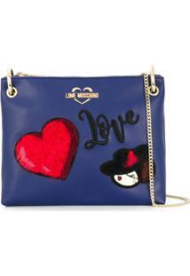 Love Moschino Bolsa Tiracolo Com Patch De Logo - Azul