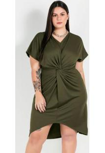Vestido Plus Size Verdecom Barra Assimétrica