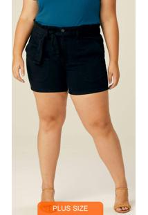 Shorts Preto Clochard Cintura Alta Plus