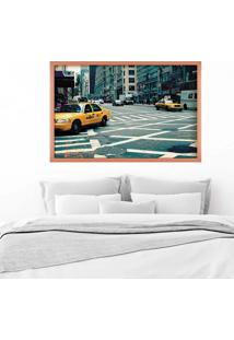 Quadro Love Decor Com Moldura New York City Rose Metalizado Grande