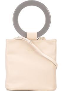 Modern Weaving Mini Circle-Handle Bucket Bag - Branco