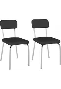 Cadeiras Kit 2 Cadeiras Vinil Preto/Cromado - Pozza