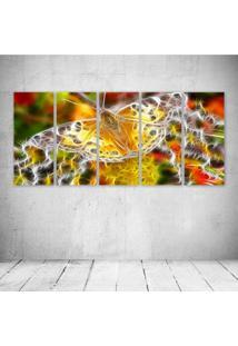 Quadro Decorativo - Butterfly Neon (2) - Composto De 5 Quadros - Multicolorido - Dafiti