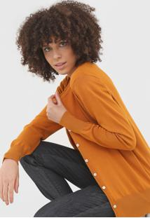 Cardigan Bobstore Tricot Liso Caramelo