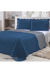Colcha Doppio Queen Size- Azul Marinho & Cinza- 240Xniazitex