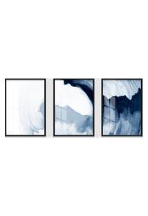 Quadro 60X120Cm Abstrato Ágata Azul Moldura Preta Sem Vidro Decorativo Interiores