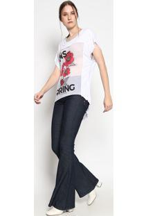 """Blusa """"Floral """"Inspiring""""- Branca & Vermelha- Coca-Ccoca-Cola"""