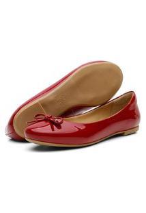 Sapatilha Laço Feminina Conforto Verniz Vermelha