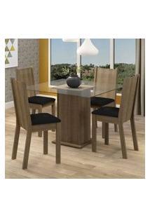 Conjunto Sala De Jantar Madesa Maya Mesa Tampo De Vidro Com 4 Cadeiras Rustic/Sintético Preto