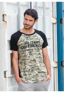Camiseta Raglan Camuflada E Preta
