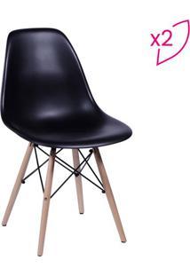 Jogo De Cadeiras Eames Dkr- Preto & Madeira Clara- 2Or Design