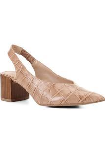 Scarpin Couro Shoestock Slingback Salto Médio Croco - Feminino-Nude