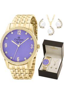 Kit Relógio Champion Feminino Com Colar E Brincos Cn26082B