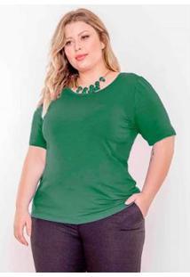 Blusa Plus Size Palank Decote U Feminina - Feminino-Verde