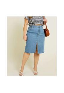 Saia Midi Plus Size Feminina Jeans Fenda Cintura Alta