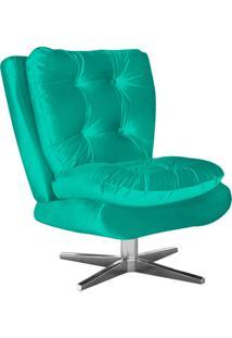 Poltrona Decorativa Tolucci Suede Verde Turquesa Com Base Giratória Em Aço Cromado - D'Rossi.