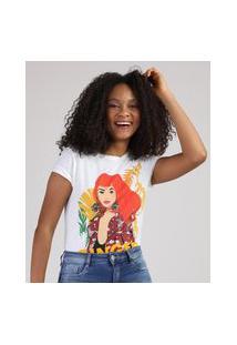 """Blusa Feminina Mulher Ginger"""" Com Termocolantes Manga Curta Decote Redondo Off White"""""""