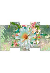 Quadro Decorativo Flor Branca Obstrato Casa Sala Quarto - Multicolorido - Dafiti